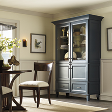 Kennedy dining room storage cabinet in a deep blue color