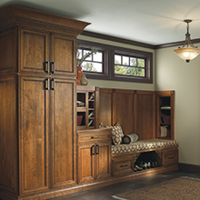 Brantley entryway cabinets in a brown finish that takes cues from Mother Nature