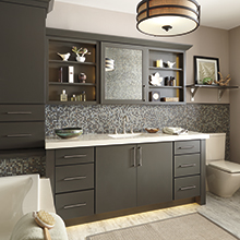 Prestley bathroom cabinets in a forest green color