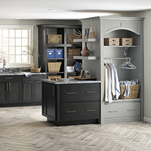 Seaton laundry room cabinets in two shades of gray