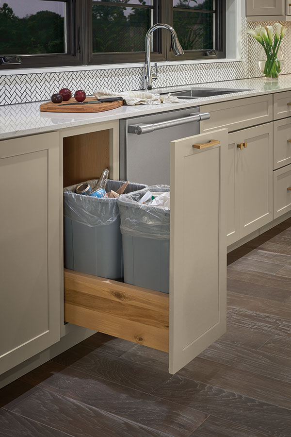 Double Trash Can Pull Out Schrock, Kitchen Cabinet Trash Can Inserts