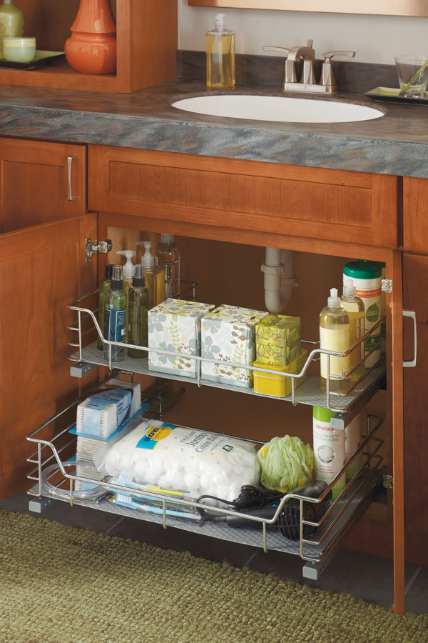 Vanity U Shaped Pullout Cabinet Schrock Cabinetry