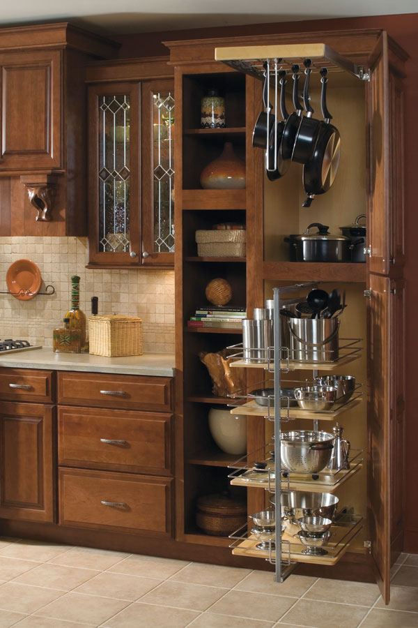 Utility Storage Cabinet With Pantry Pullout And Pots And Pans Rack;  4DropZoneCWkS