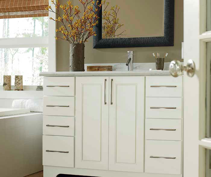 . White Bathroom Vanity and Storage Cabinet   Schrock