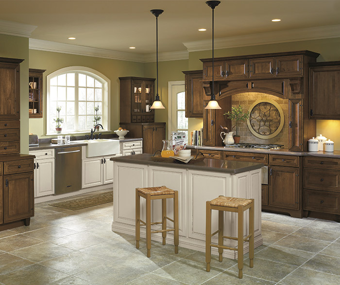 Rustic kitchen with dark Maple stain and off white accents