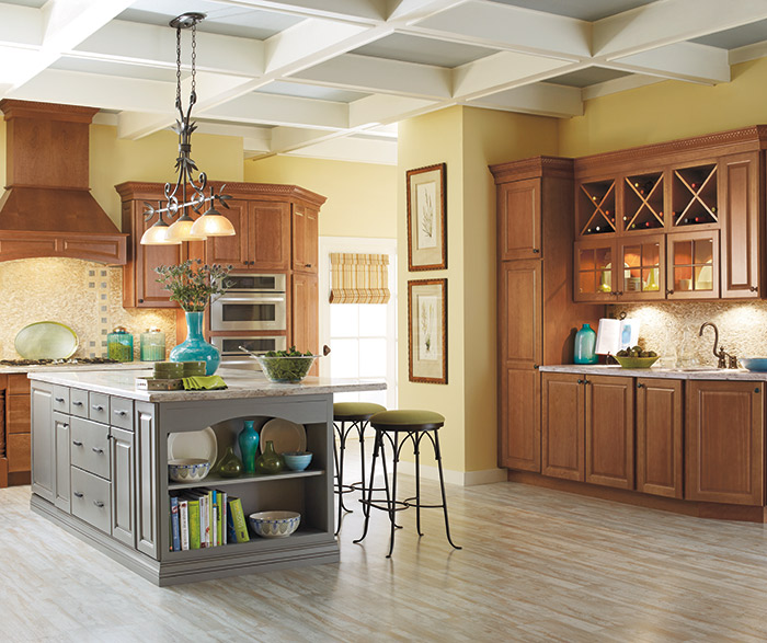 Cherry Cabinets With A Gray Kitchen Island ...