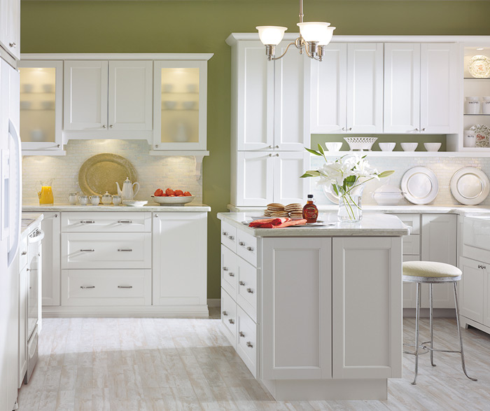 Cherry Cabinets With A Gray Kitchen Island Cavettlwik
