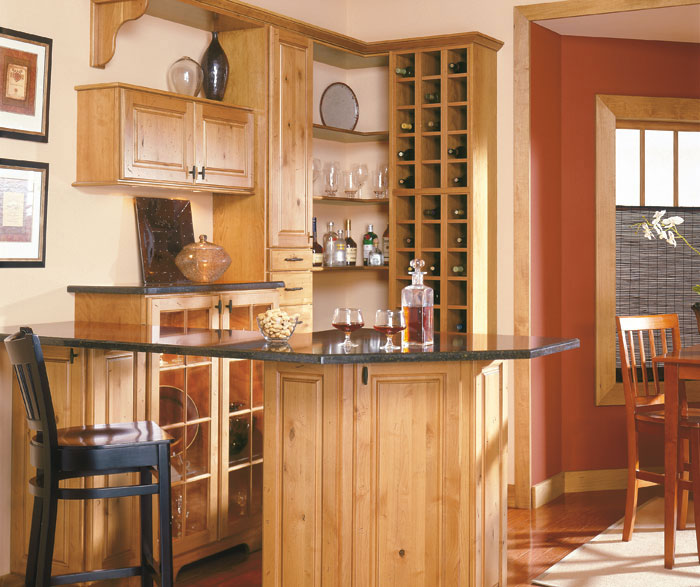 Knotted Oak Kitchen Cabinets: Rustic Alder Cabinets In A Bar Area