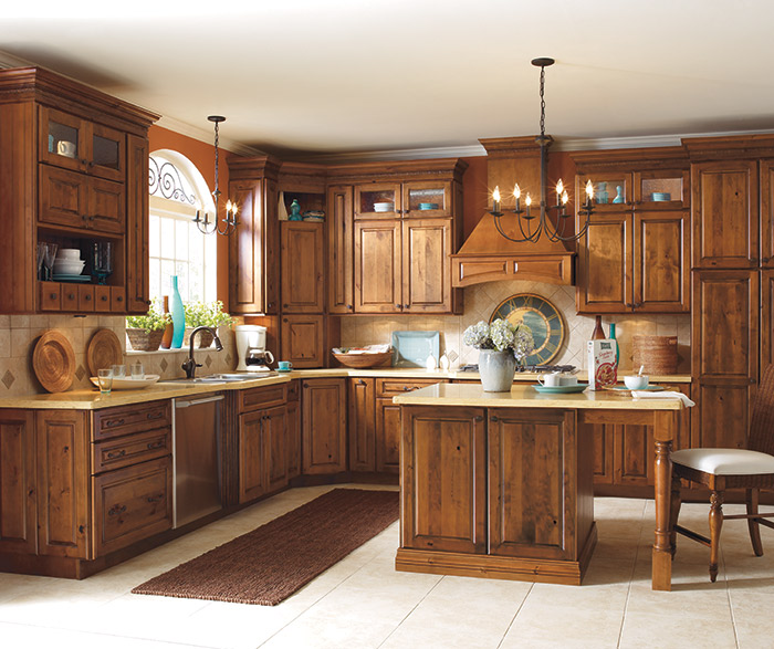 Chanley Rustic Alder kitchen cabinets in Whiskey Black finish
