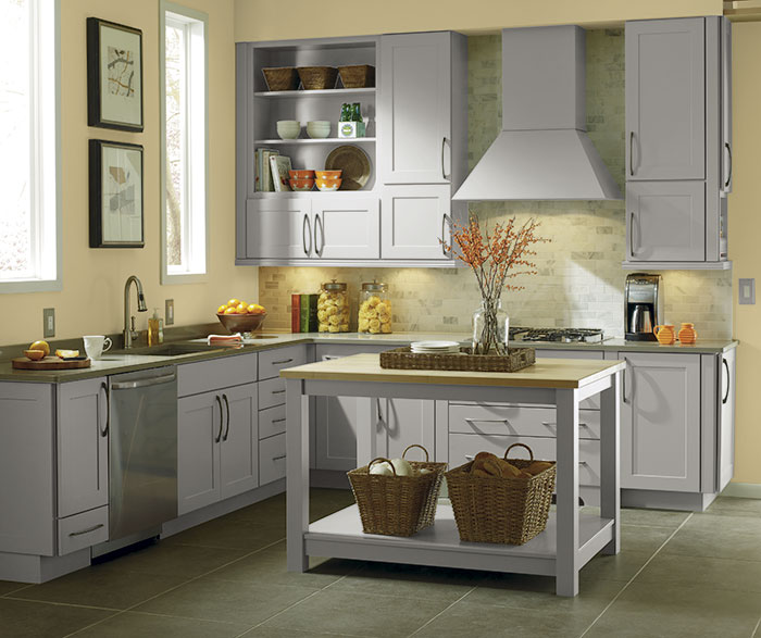 Gray cabinets in a shaker style kitchen schrock for Grey shaker style kitchen cabinets