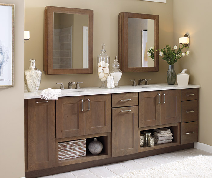 Elston shaker style bathroom cabinets in Cherry Morel