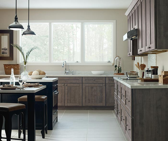 Beautiful ... Herra Laminate Kitchen Cabinets In Elk With A Prestley Black Island ...