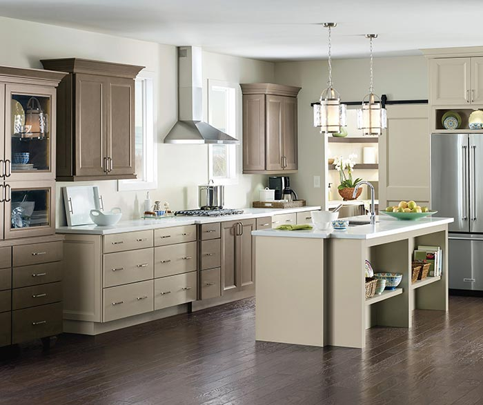 Kennedy Maple kitchen cabinets in complementary Egret and Seal finishes