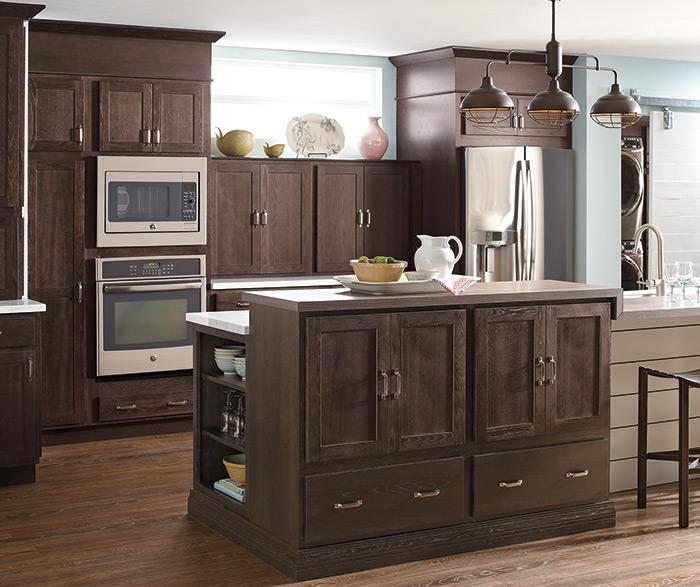Dark Finish Modern Kitchen Cabinets - Schrock Cabinetry