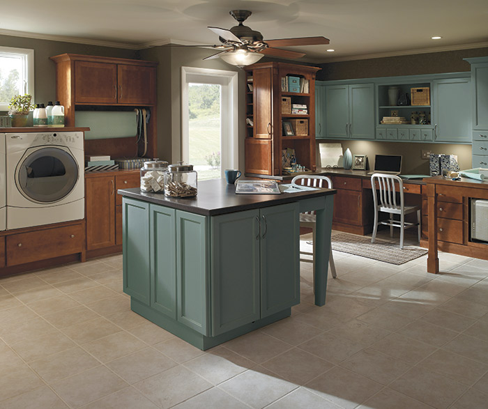 Laundry Room Cabinets In Maple Stain With Blue Painted Island · MorganMBwSB
