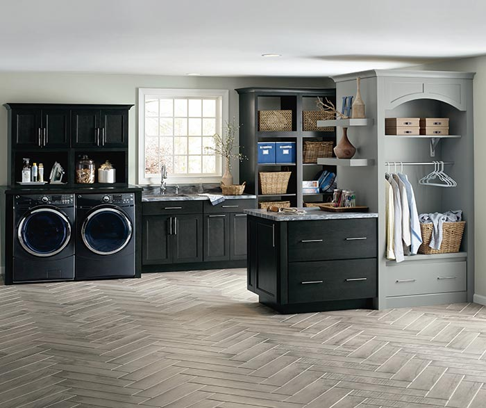 Seaton dark grey laundry cabinets in Cherry Storm