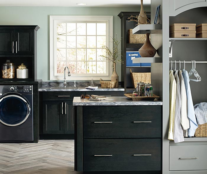 ... Seaton Dark Grey Laundry Cabinets In Cherry Storm With Maple Juniper  Accents ...
