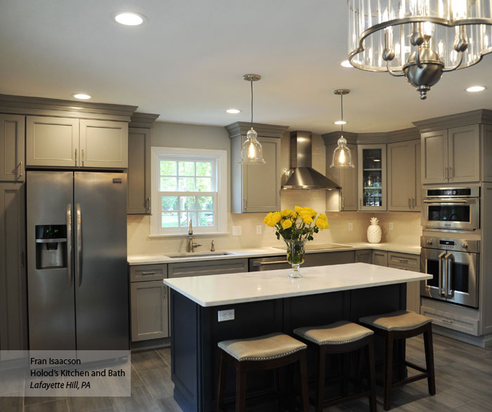Gray Cabinets With A Dark Blue Kitchen Island ...