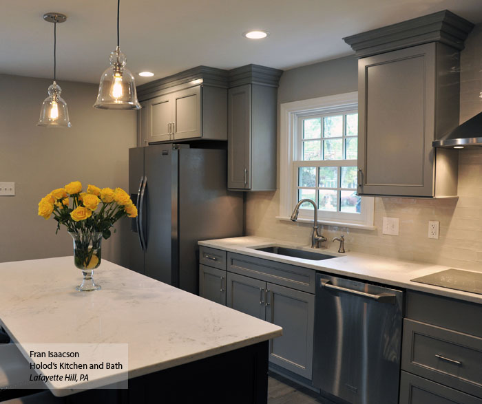 Gray Cabinets and Dark Blue Kitchen Island