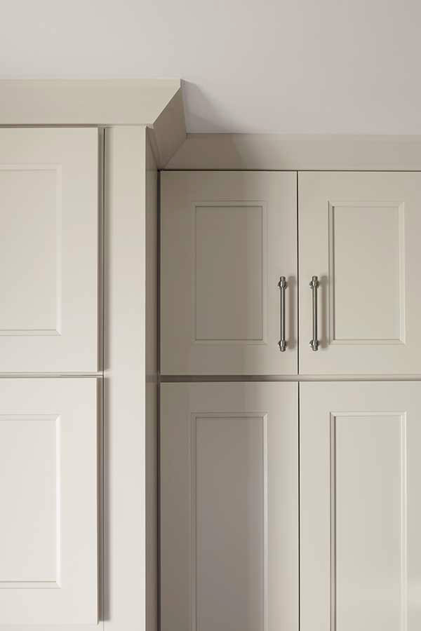 Shaker crown moulding schrock cabinetry for Best brand of paint for kitchen cabinets with 3 part wall art