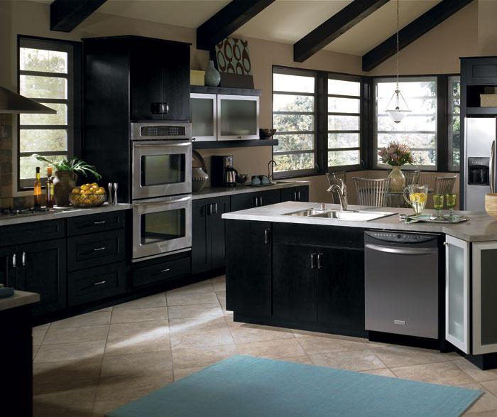 Contemporary Black Kitchen Cabinets - Schrock