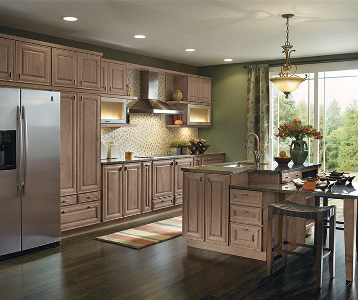 Light Cherry cabinets in a gallery kitchen