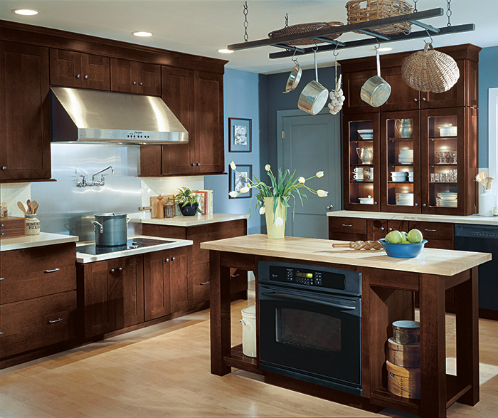 Huxley Shaker style kitchen cabinets in a dark Cherry Henna finish